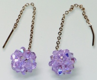 Violet AB Crystal Ball Earrings