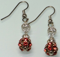 Padparadscha Swarovski Crystal Filigree Ball Earrings