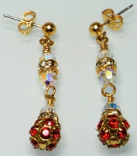 Siam Red Swarovski Crystal Filigree Ball Post Earrings