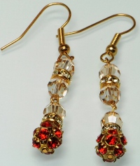 Siam Red Swarovski Crystal Filigree Ball Earrings