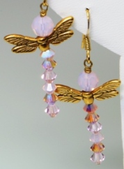 Crystal Dragon Fly Earrings