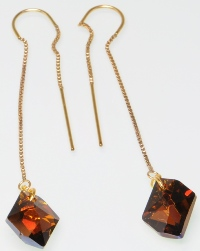 Mocca Crystal Threader Earrings
