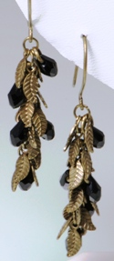 Bronze Leaf w/Black Crystal Drops Earrings